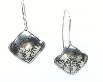 Flutterby etched silver clad brass earrings with argentium sterling ear wires
