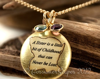 CUSTOM Locket 2 birthstones sisters love BFF friends forever mother child