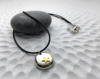 Beach love star jewelry keepsake - freecast lead-free pewter pebble with nugold star - simple everyday jewelry - whimsical beach