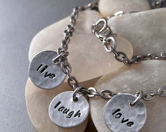 Hand stamped jewelry, live laugh love, personalized, inspirational, silver CUSTOM WORDS