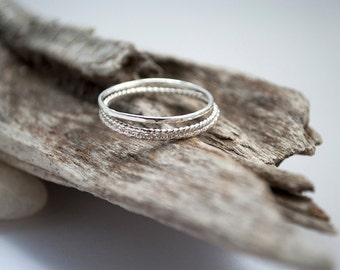 Stacking rings in sterling silver - set of three - hammered ring - twisted ring - faceted ring - mid finger ring