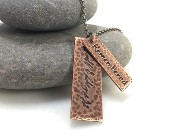 Memorial necklace with handwriting in copper - remember necklace - hammered copper pendant - loss jewelry - memory jewelry