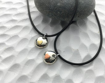 sister necklace bff heart jewelry - pewter pebble necklaces with hearts - lead-free pewter - mixed metal jewelry - silver gold copper tones