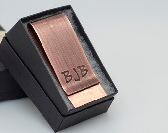 Personalized wedding birthday gift money clip with initials brushed finish antique copper handcrafted wallet accessory for Dad groomsmen him