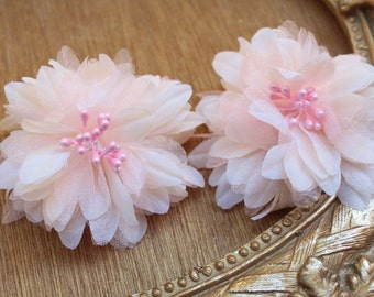 Cute  flower made from organza with   pin back 2  piece listing