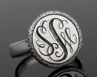 Monogram Ring, Custom Monogram Jewelry, Initial Ring, Statement Monogram Ring, Letter Ring, Sterling Silver Monogram Ring, Letter Ring