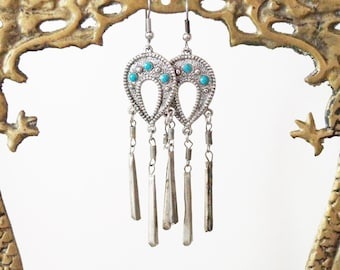 Silver Kuchi earrings ~ metal ~ Kuchi dangle ~ Kuchi style tribal Afghan style ~ etched silver ~ tribal dangle~ bohemian ~ boho chic