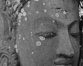 Balinese Buddha photography ~ black and white photo ~ zen wall art ~ stone Buddha ~ natural patina ~ moss lichen ~ Asian decor ~ Buddhist