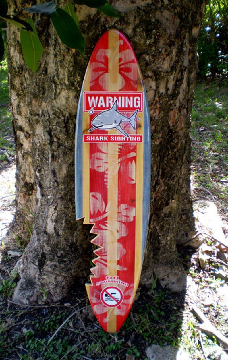 Sharkbite Red Vintage Surfboard Wall Art Solid Wood Surf Decoration Home Office Beach Tropical Decor
