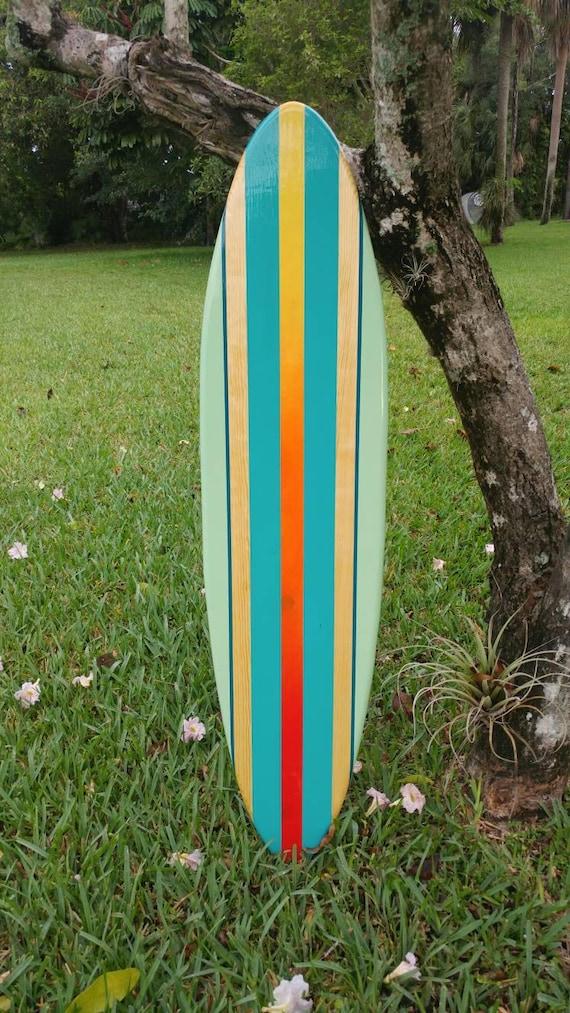 Modern tropical turquoise aqua wood surfboard wall art home | Etsy
