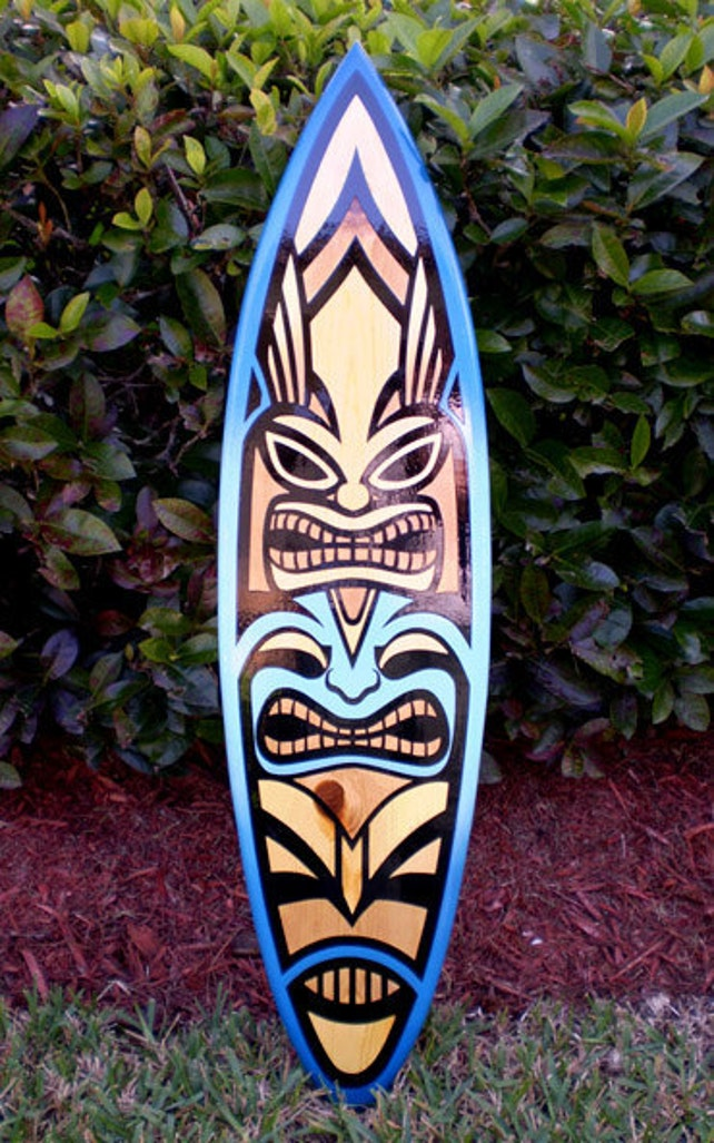 Blue Spoon Tiki Surfboard Wall Art Tropical Vertical Wall Art   Etsy