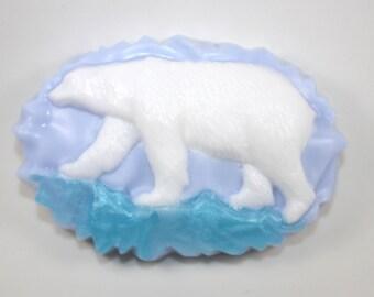 Polar Bear on Ice Soap - arctic animals, endangered animals, bears, cold, cold weather, snow, Alaska, Canada, zoo, animal theme, party favor