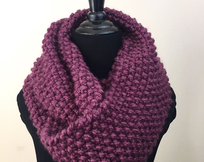 Chunky Knit Infinity Scarf in Plum