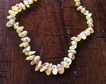 Raw Baltic Amber Teething Necklace - Honey. Unpolished.