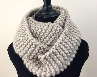 Knit Infinity Scarf in Beige