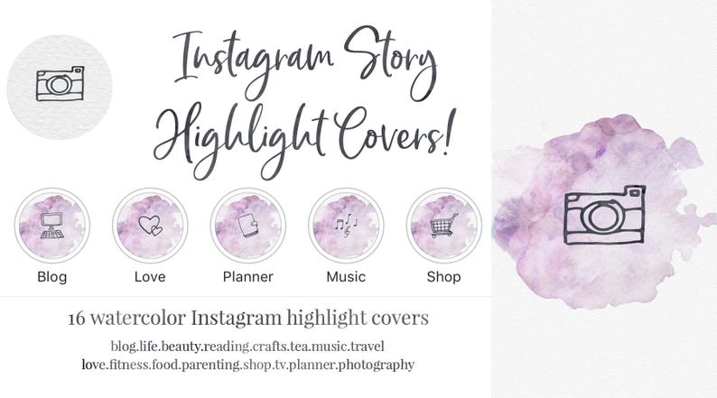 Instagram Story Highlight Cover - Set of 16 - Purple Watercolor -  Bookstagram - Lifestyle Bloggers