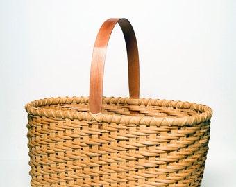 Twill Weave Market Basket Traditional Shaker Nina Webb Basket Cherry Handle Hand Woven