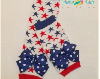4th of July baby girl, red white and blue, patriotic stars, baby girl leg warmers, toddler girl leggings