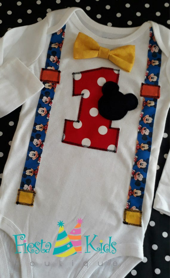Mickey Mouse Birthday Party Baby Boy First 1st Shirt Banner