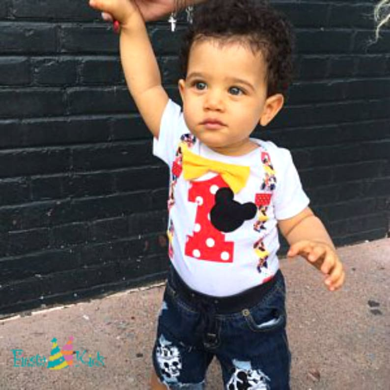 Mickey Mouse Party 1st Birthday Shirt Boy Baby