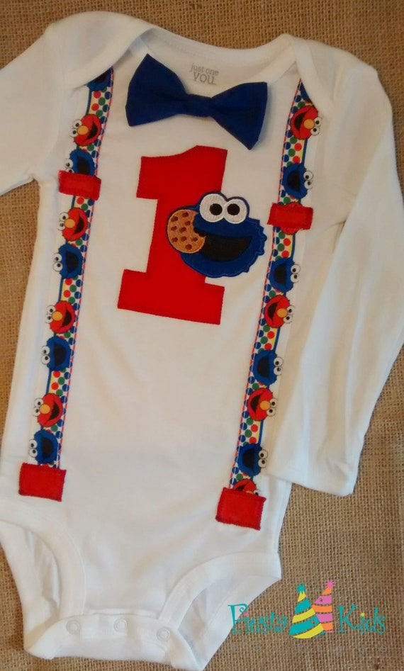 Cookie Monster Elmo Birthday Boy Cake Smash Shirt By Fiesta
