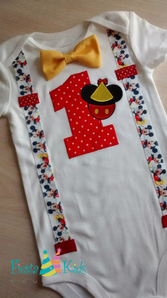 MiCKEY MoUSE Birthday Boys First Cake Smash Outfit Boy 1st Party Shirt