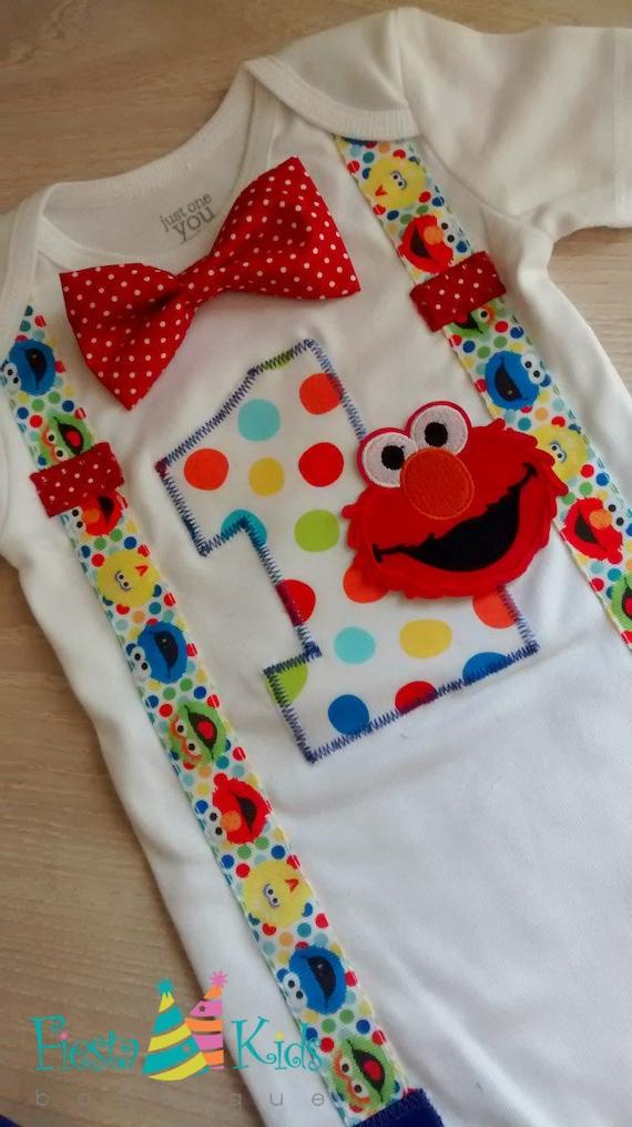 ELmO Baby Boy Party Sesame Street Birthday First Outfit Smash Cake Theme