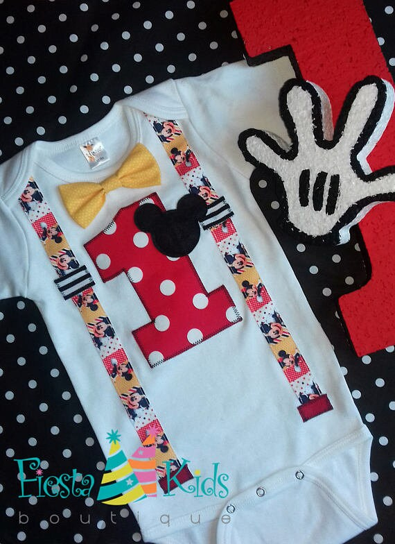 Mickey Mouse Birthday Boy Birthday One First Cake Smash Outfit