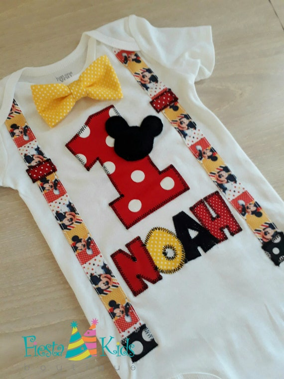 Mickey Mouse Birthday Boy One First Cake Smash Outfit