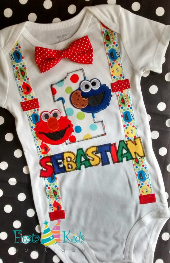 Elmo Birthday Cookie Monster 1st Outfit Boy