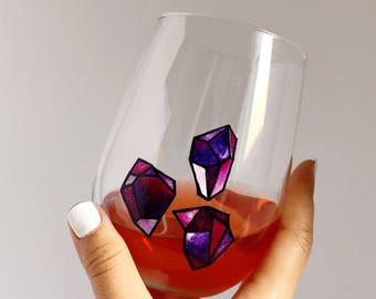 Gemstone/Crystal Hand Painted Wine Glass