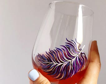 Violet Feather Hand Painted Wine Glass