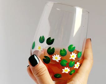 Water Lilies Hand Painted Wine Glass