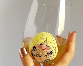 Girl with Tattoos Hand Painted Wine Glass