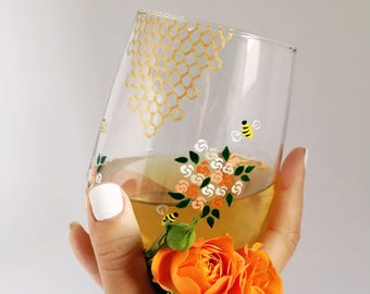 Honey Bees and Flowers Hand Painted Wine Glass