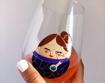 Marie Curie- Female Scientist Mosaic Hand Painted Wine Glass