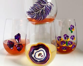 Ultra Violet Collection- Set of 4- Hand Painted Wine Glass