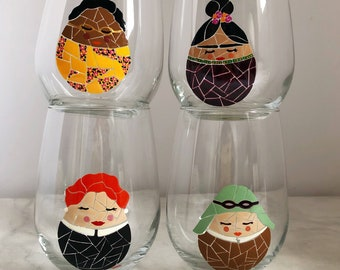 Female Icons Set of 4 Hand Painted Drinking Glasses
