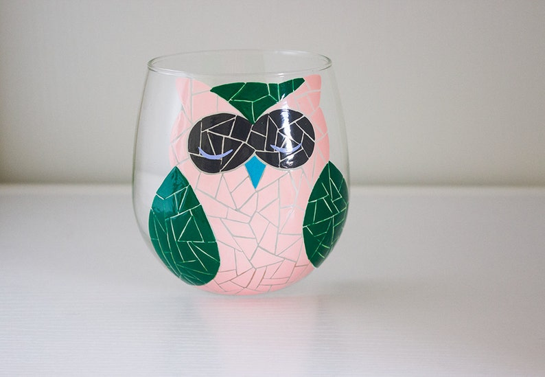 Pink and Green Mosaic Hand Painted Wine Glass image 0
