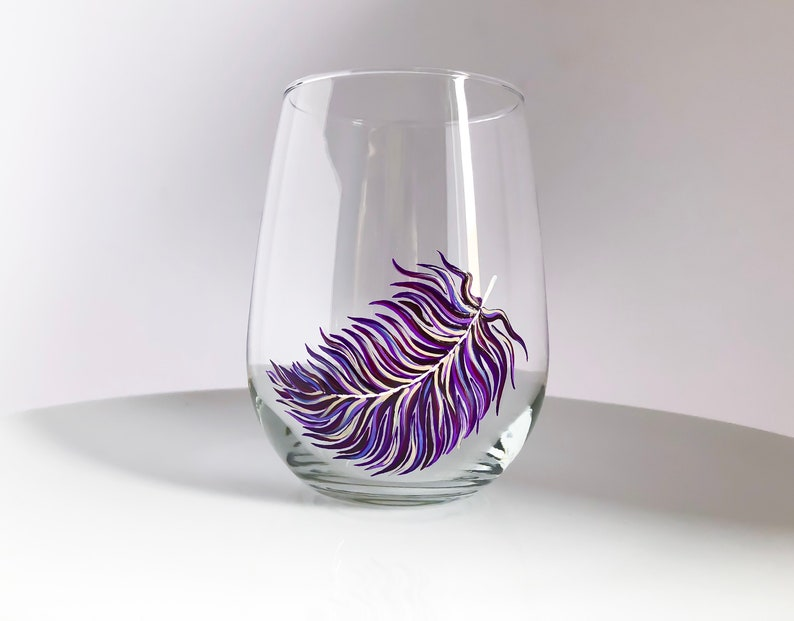 Violet Feather Hand Painted Wine Glass image 0