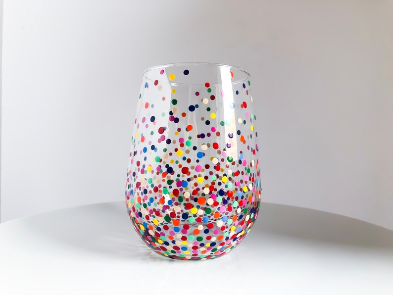 Rainbow Confetti Hand Painted Wine Glass image 0