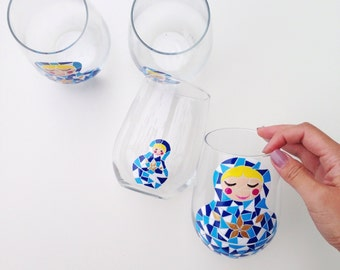 Blue Matryoshka Hand Painted Wine Glasses