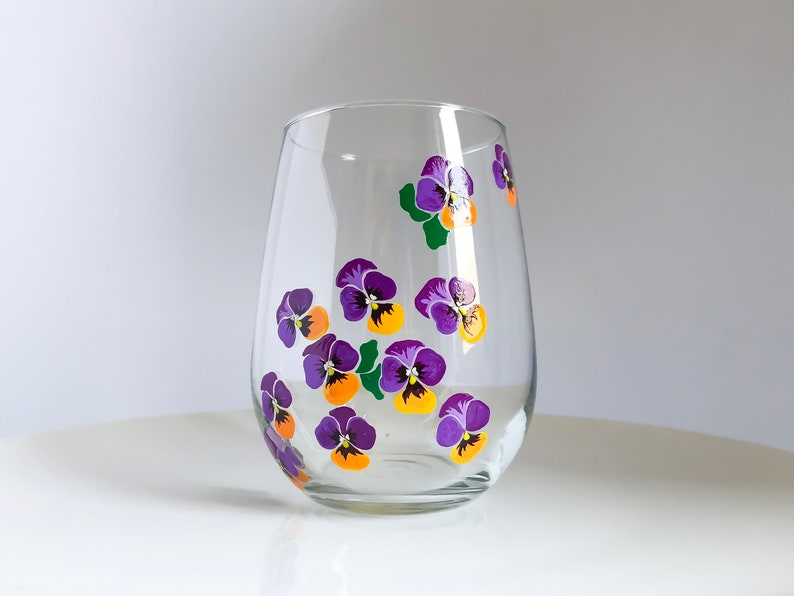 Purple Pansies Hand Painted Wine Glass image 0