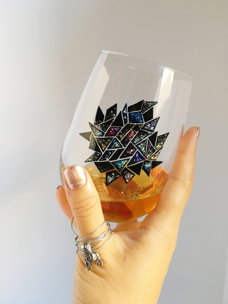 Galaxy Mosaic Hand Painted Wine Glass image 0