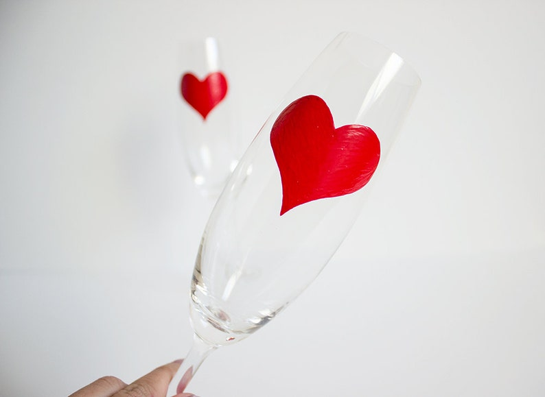 Bold Red Hearted Champagne Flutes image 0