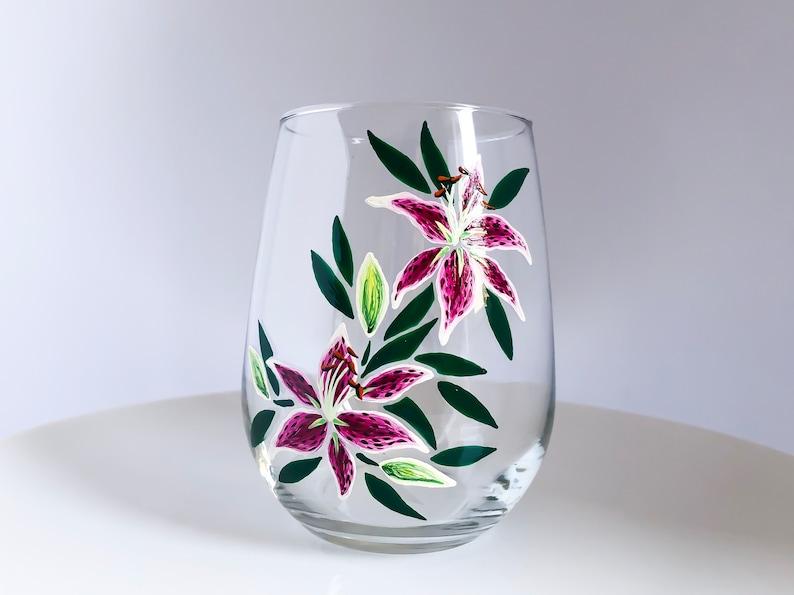 Stargazer Lilies Hand Painted Wine Glass image 0