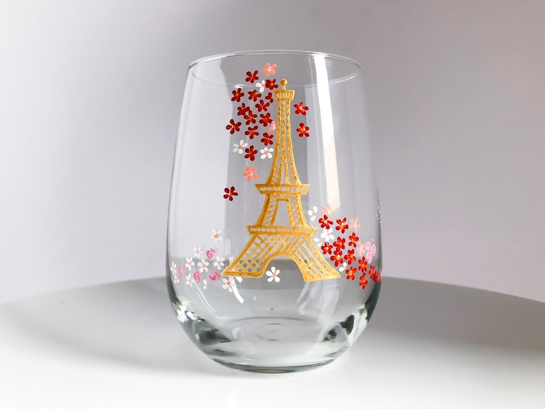 Eiffel Tower and Florals  Hand Painted Wine Glass image 0