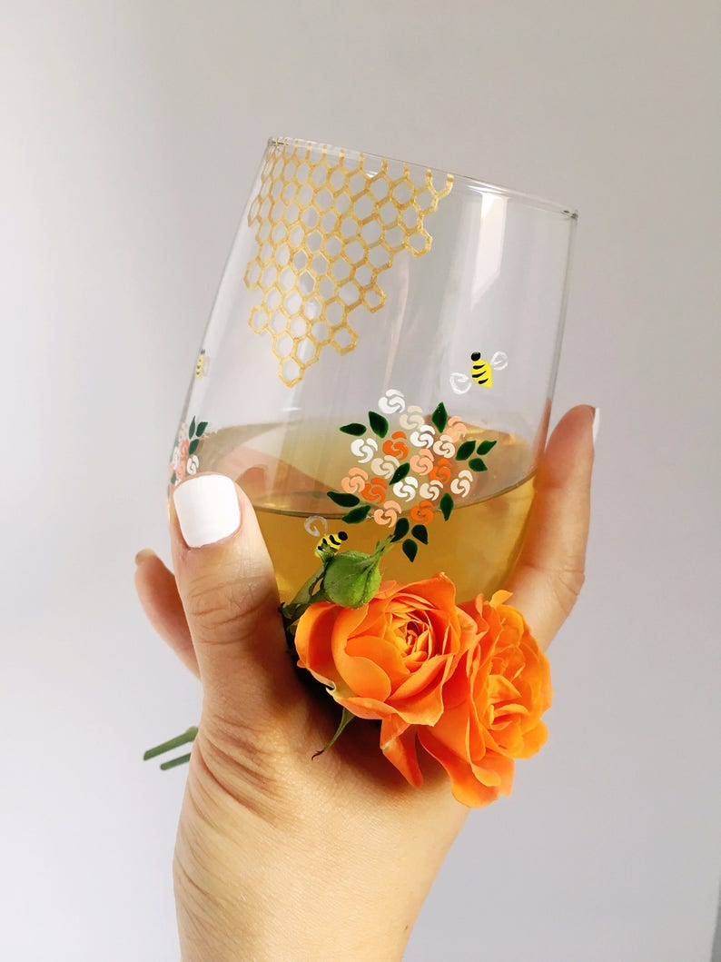 Honey Bees and Flowers Hand Painted Wine Glass image 0