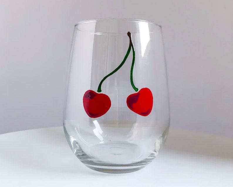 Cherries Hand Painted Wine Glass image 0