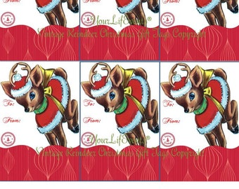 Vintage Style Holiday Christmas Gift Tags / Instant Download Reindeer/Rudolph Printable Gift Tags